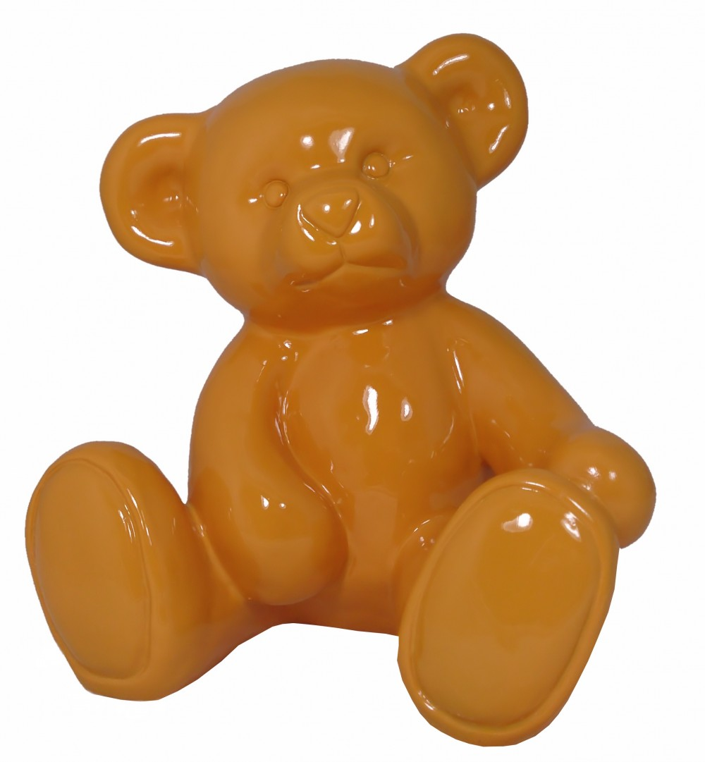 Figur Teddybär Bär orange Gartendeko Teddy Dekoration Kinderzimmer