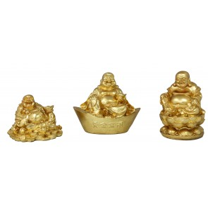 Figur Buddha 3er Set in Gold Meditation Feng Shui Gartenfigur Dekoration