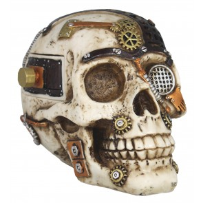 Figur Steampunk Totenkopf mit Geheimfach Science-Fiction Deko Dekoration