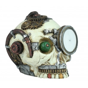 Figur Steampunk Totenkopf mit Plasmalampe Science-Fiction Deko Dekoration